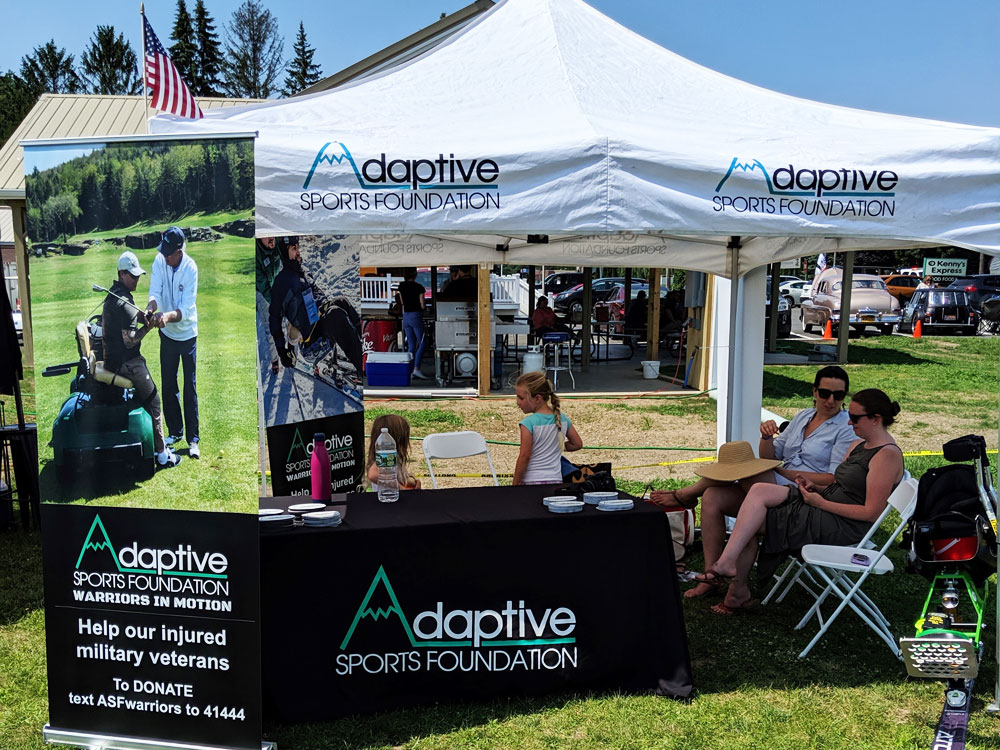 Iron Horse Cigar Depot car show. Adaptive Sports Foundation booth.
