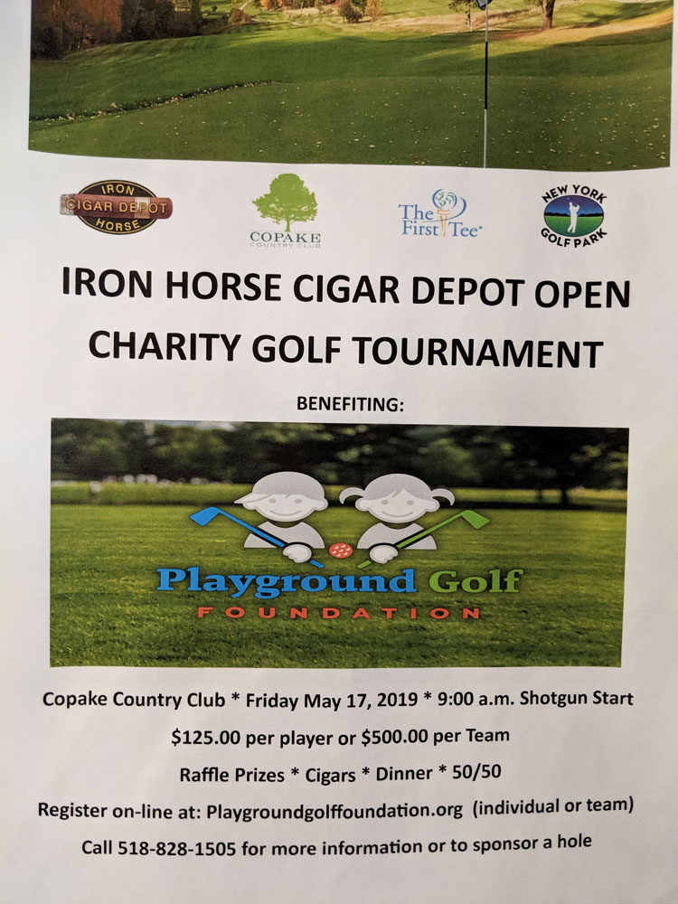 Flyer of Iron Horse Cigar Depot Charity Golf Tournament supporting Playground Golf Foundation
